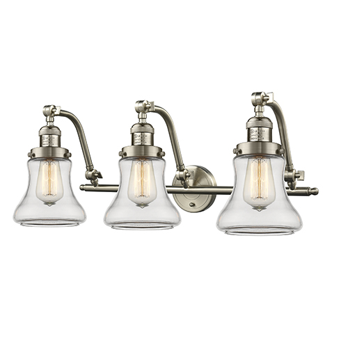Innovations Lighting Bellmont Brushed Satin Nickel 28-Inch Three-Light Bath Vanity with Clear Hourglass Glass