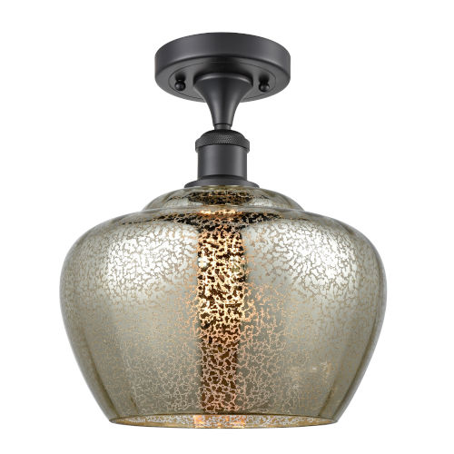 Large Fenton Matte Black LED Semi Flush Mount with Mercury Glass