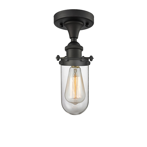 Innovations Lighting Kingsbury Oiled Rubbed Bronze One-Light Semi Flush Mount with Clear Globe Glass