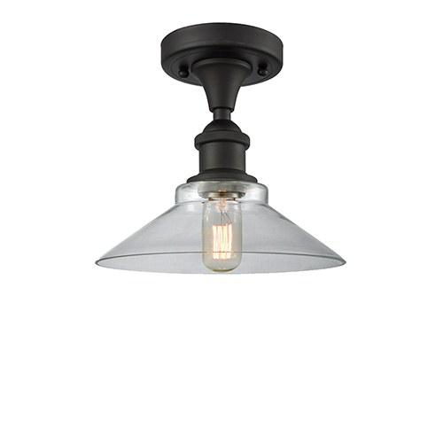 Innovations Lighting Disc Oiled Rubbed Bronze LED Semi Flush Mount with Clear Cone Glass