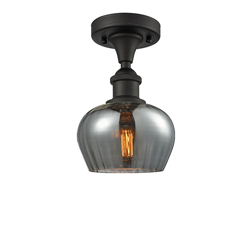 Fenton Oiled Rubbed Bronze LED Semi Flush Mount with Smoked Fluted Sphere Glass