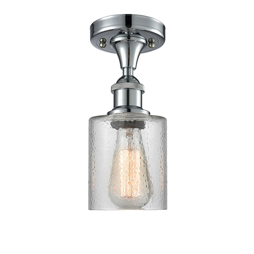 Innovations Lighting Cobbleskill Polished Chrome LED Semi Flush Mount with Clear Ripple Drum Glass
