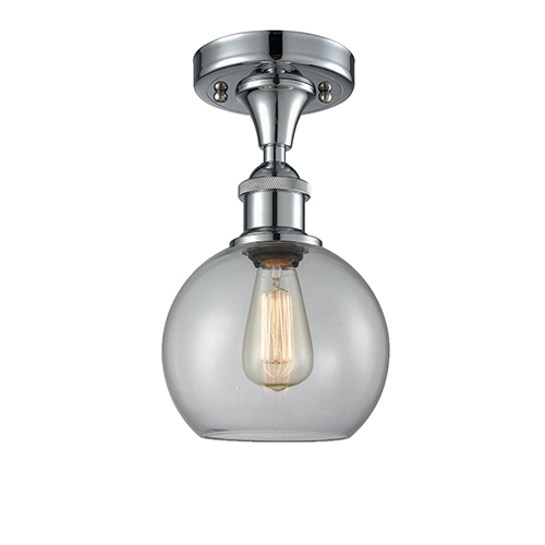 Innovations Lighting Athens Polished Chrome One Light Semi Flush Mount With Clear Globe Sphere Gl