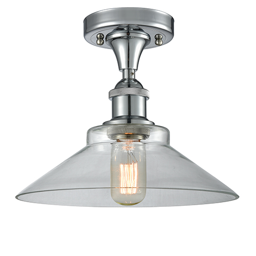 Innovations Lighting Disc Polished Chrome LED Semi Flush Mount with Clear Cone Glass