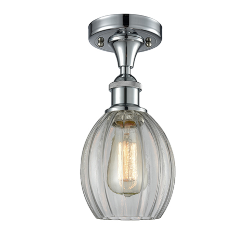 Eaton Polished Chrome One-Light Semi Flush Mount with Clear Fluted Sphere Glass