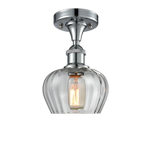 Innovations Lighting Fenton Polished Chrome LED Semi Flush Mount with Clear Fluted Sphere Glass