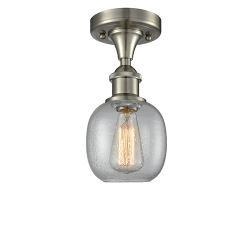 Innovations Lighting Belfast Brushed Satin Nickel One-Light Semi Flush Mount with Clear Seedy Sphere Glass