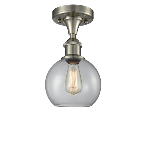 Innovations Lighting Athens Brushed Satin Nickel LED Semi Flush Mount with Clear Globe Sphere Glass