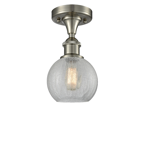 Innovations Lighting Athens Brushed Satin Nickel LED Semi Flush Mount with Clear Crackle Globe Sphere Glass