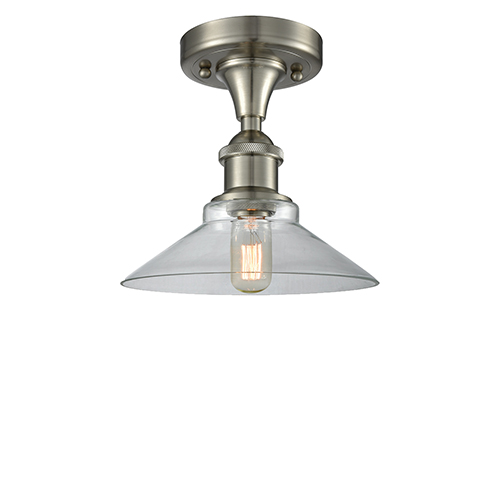 Disc Brushed Satin Nickel One-Light Semi Flush Mount with Clear Cone Glass