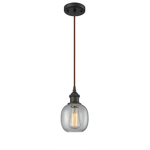 Belfast Oiled Rubbed Bronze One-Light Mini Pendant with Clear Seedy Sphere Glass