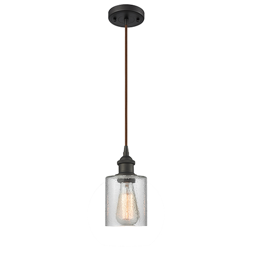 Cobbleskill Oiled Rubbed Bronze One-Light Mini Pendant with Clear Ripple Drum Glass
