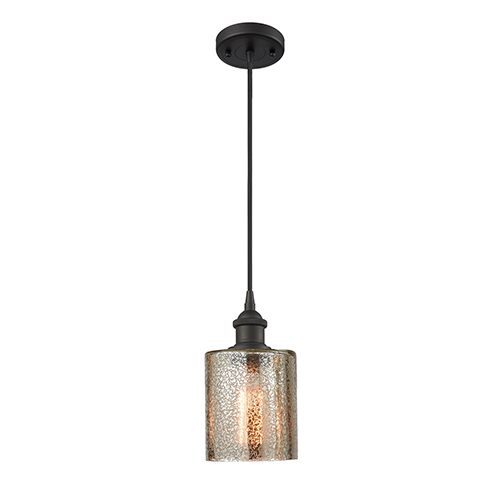Cobbleskill Oiled Rubbed Bronze LED Mini Pendant with Mercury Drum Glass