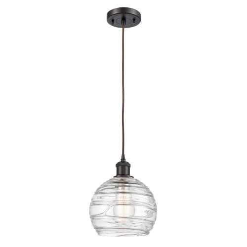 Ballston Oil Rubbed Bronze Eight-Inch LED Mini Pendant with Clear Deco Swirl Shade