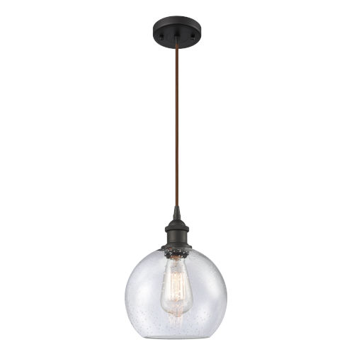 Ballston Oil Rubbed Bronze Eight-Inch One-Light Mini Pendant with Seedy Athens Shade