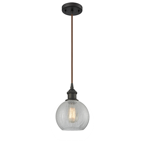Innovations Lighting Athens Oiled Rubbed Bronze One-Light Mini Pendant with Clear Crackle Globe Sphere Glass