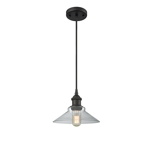 Innovations Lighting Disc Oiled Rubbed Bronze One-Light Pendant with Clear Cone Glass