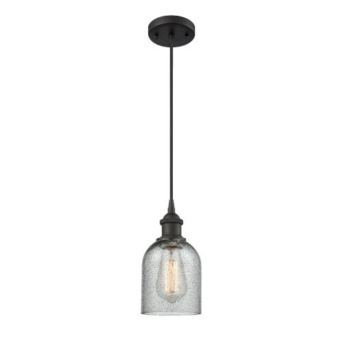 Caledonia Oil Rubbed Bronze LED Mini Pendant with Charcoal Glass