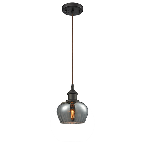 Innovations Lighting Fenton Oiled Rubbed Bronze LED Mini Pendant with Smoked Fluted Sphere Glass