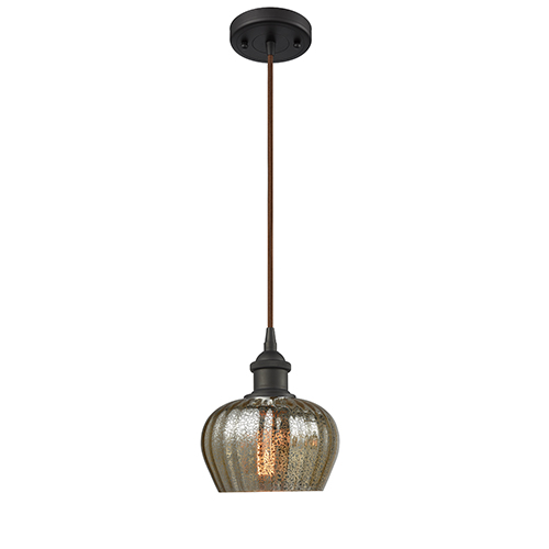 Fenton Oiled Rubbed Bronze One-Light Mini Pendant with Mercury Fluted Sphere Glass
