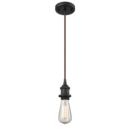 Bare Bulb Oiled Rubbed Bronze One-Light Mini Pendant