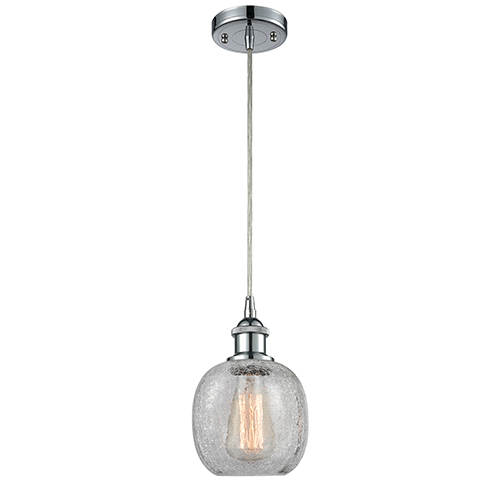 Innovations Lighting Belfast Polished Chrome LED Mini Pendant with Clear Crackle Sphere Glass