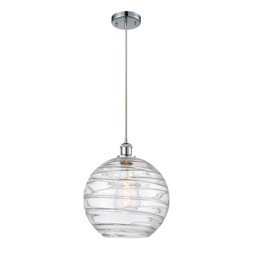 Ballston Polished Chrome 12-Inch One-Light Pendant with Clear X-Large Deco Swirl Shade