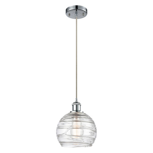 Ballston Polished Chrome Eight-Inch LED Mini Pendant with Clear Deco Swirl Shade