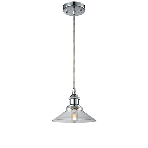 Disc Polished Chrome LED Pendant with Clear Cone Glass