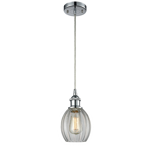 Innovations Lighting Eaton Polished Chrome LED Mini Pendant with Clear Fluted Sphere Glass