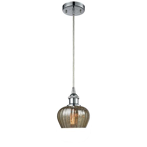 Innovations Lighting Fenton Polished Chrome LED Mini Pendant with Mercury Fluted Sphere Glass