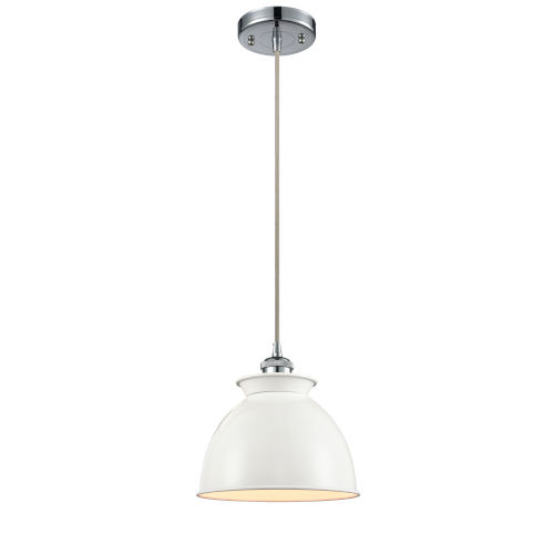 Ballston Polished Chrome Eight-Inch One-Light Mini Pendant with Glossy White Metal Shade