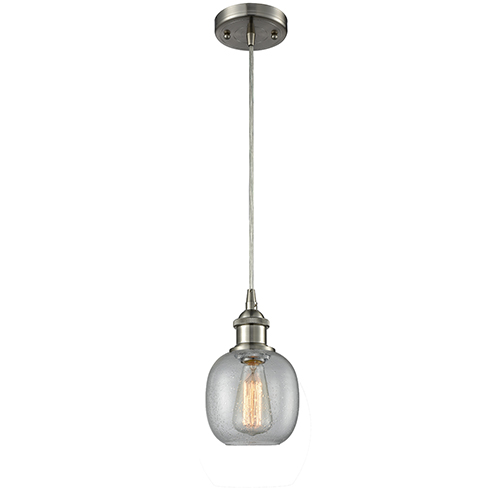 Innovations Lighting Belfast Brushed Satin Nickel LED Mini Pendant with Clear Seedy Sphere Glass