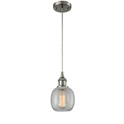 Innovations Lighting Belfast Brushed Satin Nickel One-Light Mini Pendant with Clear Crackle Sphere Glass