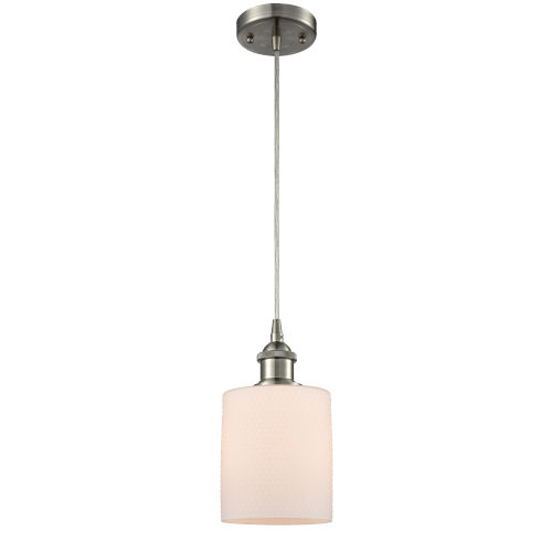 Cobbleskill Brushed Satin Nickel One-Light Mini Pendant with Matte White Ripple Glass