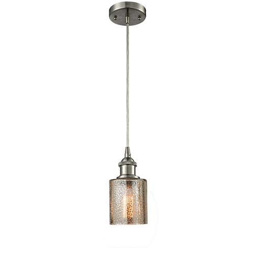 Innovations Lighting Cobbleskill Brushed Satin Nickel LED Mini Pendant with Mercury Drum Glass