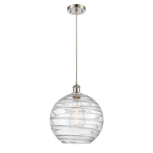Ballston Brushed Satin Nickel 12-Inch LED Pendant with Clear X-Large Deco Swirl Shade and Silver Cord
