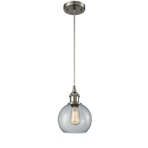 Innovations Lighting Athens Brushed Satin Nickel One-Light Mini Pendant with Clear Globe Sphere Glass