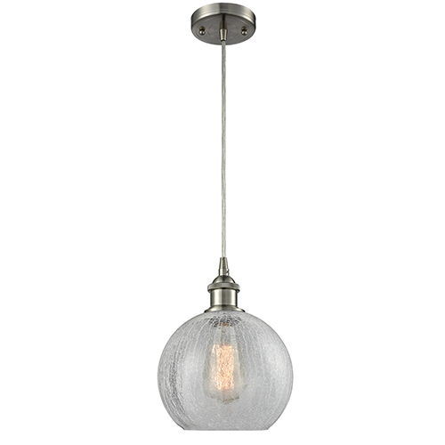 Innovations Lighting Athens Brushed Satin Nickel One-Light Mini Pendant with Clear Crackle Globe Sphere Glass