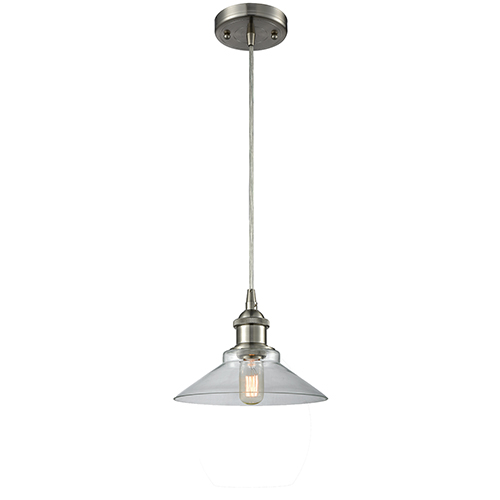 Disc Brushed Satin Nickel One-Light Pendant with Clear Cone Glass