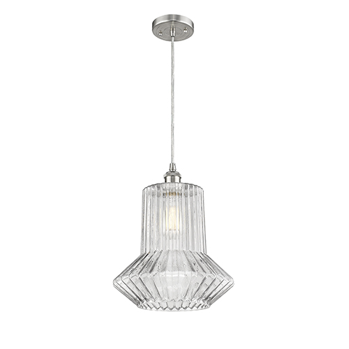 Innovations Lighting Springwater Brushed Satin Nickel One-Light Pendant with Clear Crystal Novelty Glass