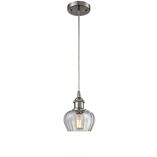 Innovations Lighting Fenton Brushed Satin Nickel One-Light Mini Pendant with Clear Fluted Sphere Glass