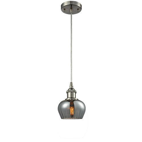 Innovations Lighting Fenton Brushed Satin Nickel LED Mini Pendant with Smoked Fluted Sphere Glass