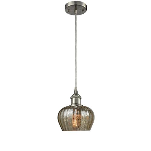 Innovations Lighting Fenton Brushed Satin Nickel One-Light Mini Pendant with Mercury Fluted Sphere Glass