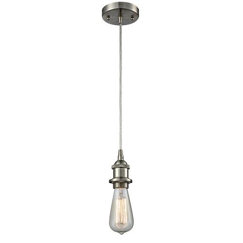Innovations Lighting Bare Bulb Brushed Satin Nickel One-Light Mini Pendant