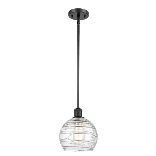 Ballston Matte Black Eight-Inch LED Mini Pendant with Clear Deco Swirl Shade