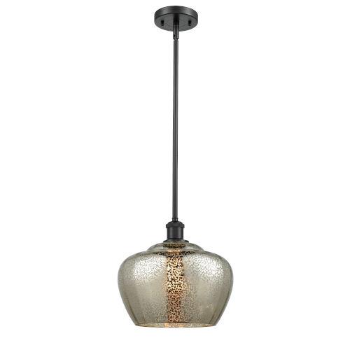 Large Fenton Matte Black One-Light Pendant with Mercury Glass