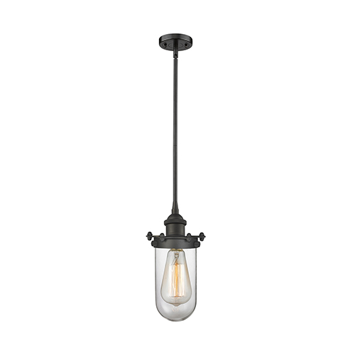 Innovations Lighting Kingsbury Oiled Rubbed Bronze Six-Inch LED Mini Pendant with Clear Globe Glass