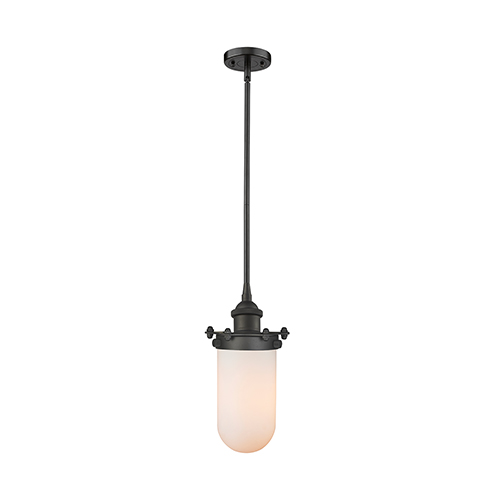 Kingsbury Oiled Rubbed Bronze Six-Inch LED Mini Pendant with Matte White Cased Globe Glass