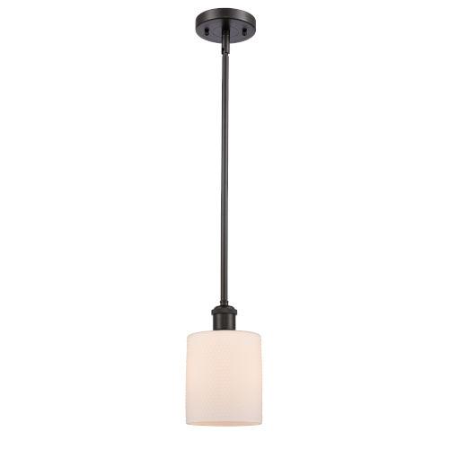 Cobbleskill Oil Rubbed Bronze LED Hang Straight Swivel Mini Pendant with Matte White Ripple Glass